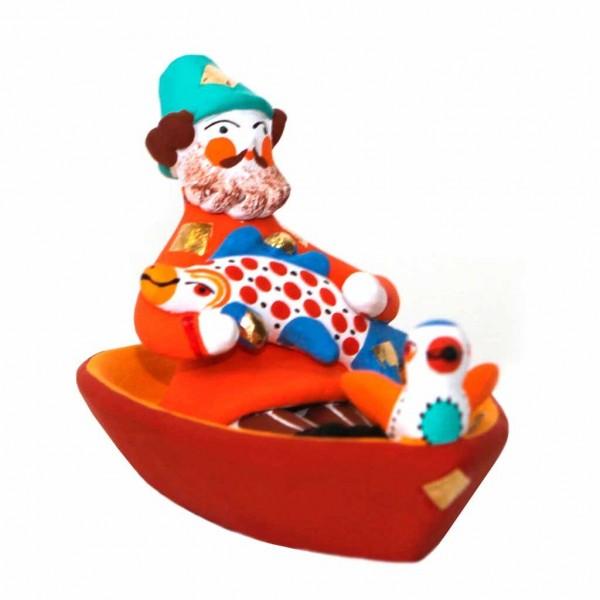 """Фигурка """"Мужик в лодке с рыбой и птичкой"""" - 2"""